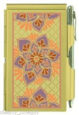 #8990 -- WELLSPRING GOLDEN FLORAL ALUMINUM FLIP NOTE CASE PAD WITH PEN -WOW!