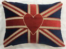 "Velvet Union Jack Luv Heart Blue Red Cushion Cover Pillow Case 12"" x 16"" UK MADE"