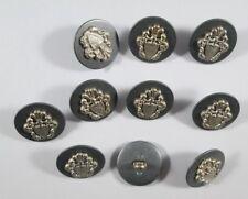 Metall  Knopf Knöpfe 15  stück braun silber wappen  17 mm groß   #1410#