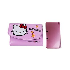 Pearl Pink 3DS Nintendo w/ Rare Hello Kitty Case & Genuine Wall Charger - TESTED