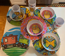 Emily Green Kid's Plastic Dishes Melamine Whimsical 14 Piece Lot Set Cute Play