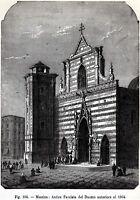 Messina: Antica Facciata del Duomo. Sicilia. Stampa Antica + Passepartout. 1893
