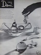 PUBLICITÉ 1960 CRISTAL DE DAUM LA COUPE DE FRUITS EN CRISTAL - ADVERTISING