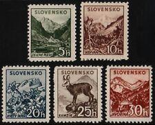 ✔️ SLOVAKIA 1940/1943 - FLORA FAUNA WM 263 PERF 12½ - SC. 45/49 MNH OG [SK071Y]