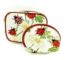 Ladybug Tapestry Travel Makeup Bag Cute Toiletry Cosmetic Pouch Set of 2