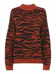 WHISTLES Ladies Tiger Stripe Intarsia Knit Jumper Orange Multi M RRP129 BNWT