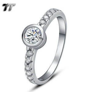 TT RHODIUM 925 Sterling Silver Engagement Wedding Ring (RW10)