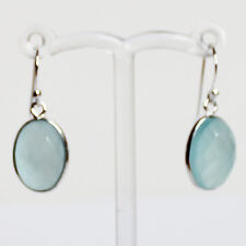925 Sterling Silver Semi-Precious Natural Stone Blue Chalcedony Drop Earrings