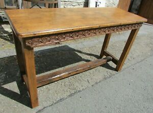 Antique oak HALL TABLE 140x51cm chunky side serving table carved breakfast bar?