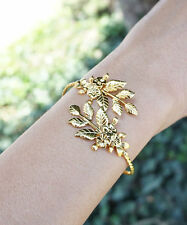 Leaf Bracelet Floral Gold Plated Goddess Adjustable Bangle Bracelet Arm Cuff