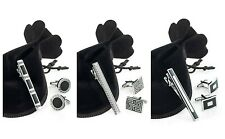 Cufflinks & Tie Clip Set In Gift Bag * Choice of 3 Designs Mens Gift Set