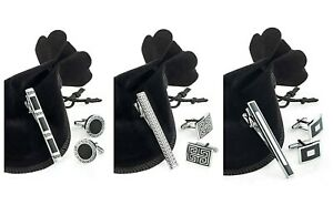 Cufflinks & Tie Clip Set In Gift Bag * Choice of 3 Designs Mens Gift Set
