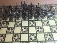 46cm Folding Chess+backgammon Decorative Board.Roman Bronze/brass finish+leather