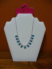 NWT Candies Silvertone Chain Necklace With Faceted Turquoise Squares
