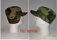 TWO HUNTING HATS  CAMO WOODLANDS COLD WEATHER 7 1/8 EAR FLAPS US ARMY BY ATLAS