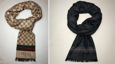 NEW REAL GUCCI GG Jacquard Pattern Wool Scarf: Beige/Brown - Black - D.Blue