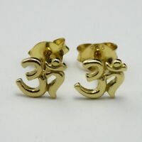 18ct Gold on Solid 925 Sterling Silver Stud Earrings Ohm Symbol New inc Gift Bag