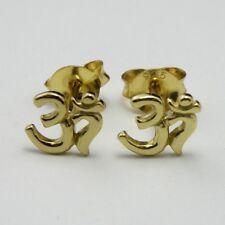 18 KT ORO SU solido 925 Argento Sterling Orecchini A LOBO simbolo di Ohm nuova borsa regalo inc