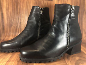 Enzo Angiolini Womens  Black Leather Zip Up Ankle Boot Size 6.5 M