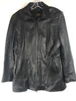DANIER Men's Black Genuine Leather Coat Zip Removable Liner Size Medium