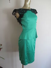REVIEW satin emerald green peplum fitted dress with black lace details Sz 6