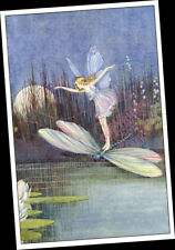 "Fairy Butterfly + Dragonfly Night Flight over Lily Pond : FINE ART PRINT 12""X18"""