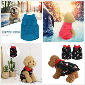 Winter Soft Warm Xmas Dress Pet Dogs Puppy Comfort Jacket Clothing Outfit UK