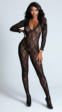 One Size Fits Most Womens Long Sleeve Lace Bodystocking, Long Sleeved