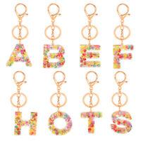 A-Z English Letter Keychain Glitter Acrylic Keyring Bag Pendant Accessory DIY