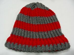 RED & GRAY - HAND KNITTED - YOUTH SIZE STOCKING CAP BEANIE HAT!