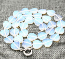 Beautiful Natural 12mm white opal heart shaped Gemstone beads necklace 18'' AAA