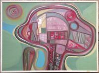 Composizione Astratta Dipinto a Olio 1974 Monogramma Moderno Arte ° Alta Lusso