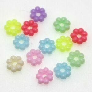 1000 Mixed Pastel Color Acrylic Mini Flower Disc Spacer Beads 6X3mm Jewelry Make