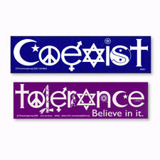 Coexist and Tolerance Interfaith Word Peace Symbol Glyph 2-PACK Decal Sticker