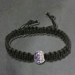 Silberdream 18cm Shamballa Bracelet Femme Violet Zircon Boule Argent SDA034V