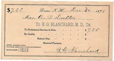 Old 1898 Signed Receipt - Dr. R.G. Blanchard, Dover NH