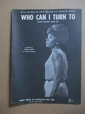 Shirley Bassey, Who Can I Turn To, sheet music, Aust. press