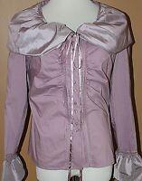 Kenar Purple Button Front Shirt Top Lace Ribbon Puff Collar Cuffs NWT S