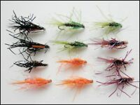 Diawl Bach Nymph Trout Fly, 12 UV Straggle Diawl Bach, 4 colours, Size 10/12/14