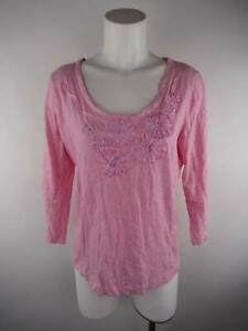 Taylor Marcs Women's sz L Pink Heather Floral Embroidered Scoop Neck Blouse Top