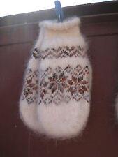 MITTENS homemade Russian goat down natural  yarn furry angora craft soft warm