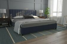 King Size Bed Frame Upholstered Tufted Headboard Platform Bedroom Furniture