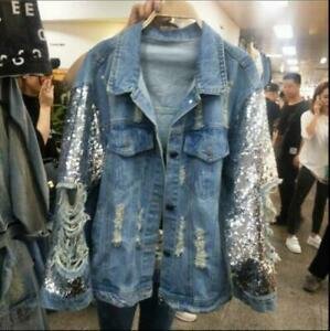 Womens Ladies Fashion Sequin Ripped Denim Jeans Loose Jacket Coat Outwear