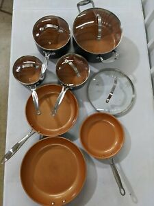 7 x Gotham Steel Nonstick Copper - 3x Frying Saute Pans & 4x Pots w/ lids - Used