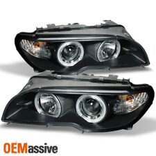 Fits 04-06 E46 3-Series 2Dr Coupe Dual Halo Projector Black Headlights Lamps Set