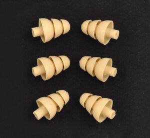 6 ALMOND Triple Flange Ear Tips fit SHURE SE215 SE425 SE535 Earphones IEM Earbud