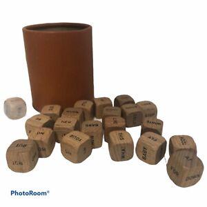 21 Romantic Word Dice Set Wooden & Vintage Cardboard Cup