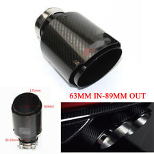 Real Carbon Fiber Glossy Black Car Exhaust Pipe Tips Muffler 63MM IN-89MM OUT
