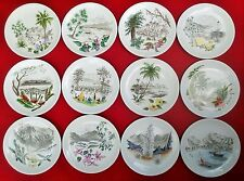 1944 HAWAIIAN painting vtg wedgwood porcelain jewelry plate hula tiki surf art
