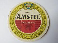 Vintage Beer Coaster ~*~ AMSTEL Bier Pilsener ~*~ NETHERLANDS 100% Malta Cerveza